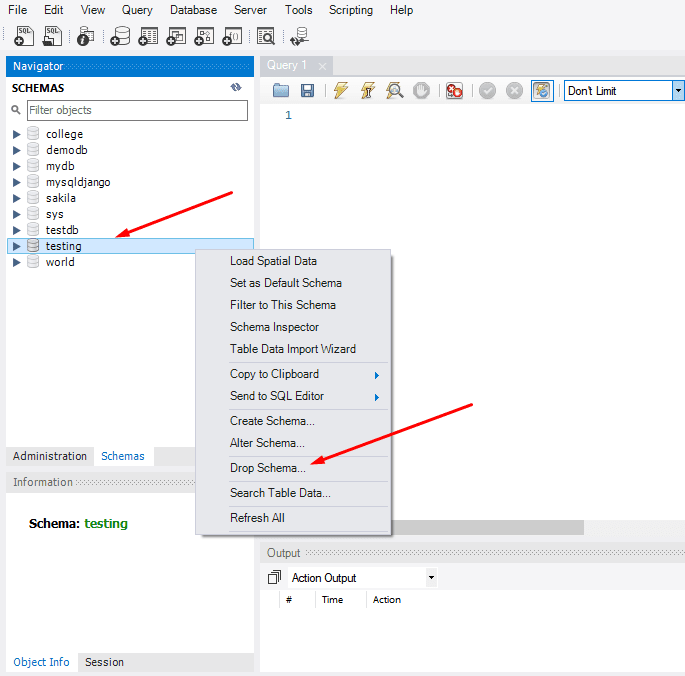 drop mysql database